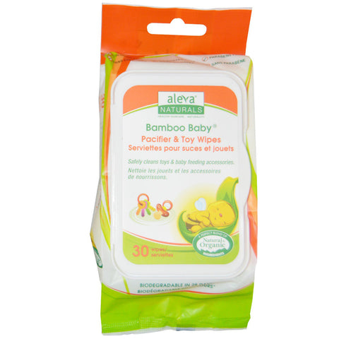 Aleva - Bamboo Baby Wipes Pacifier & Toy - 30 Wipes