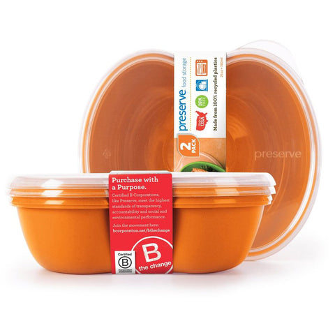 PRESERVE - Square Food Storage Container 25-Ounce Orange