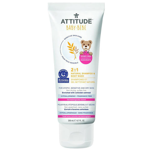 ATTITUDE - Baby 2-in-1 Natural Shampoo & Body Wash Fragrance Free