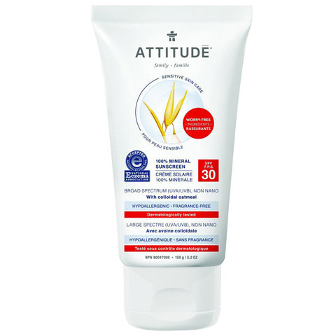 ATTITUDE - 100% Mineral Sunscreen SPF 30 Sensitive Skin