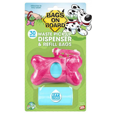Bags On Board Marble Bone Dispenser Pink - 30 Bags