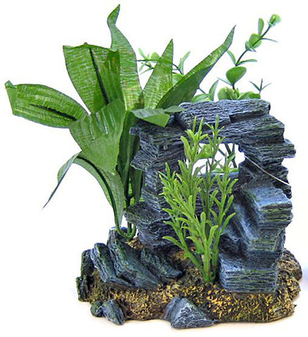 Blue Ribbon - Resin Ornament Rock Arch With Plants Small