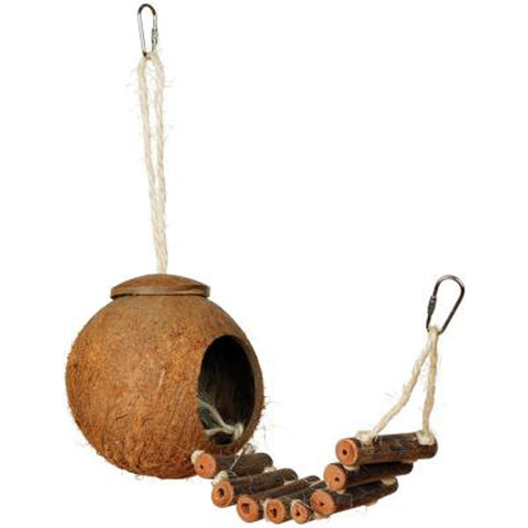 PREVUE PET PRODUCTS - Naturals Coco Hideaway with Ladder Bird Toy Multi-Colored