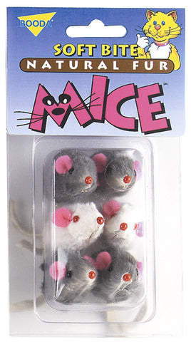 Aspen/Booda Corporation - Catnip Soft Bite Mice Cat Toys - 6 Toys