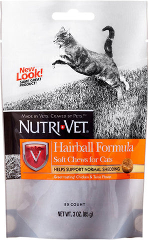 NUTRI-VET - Hairball Formula Chicken and Tuna Flavor Soft Chews for Cats