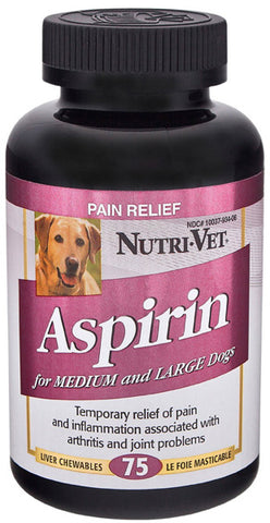 NUTRI-VET - Liver Flavored Aspirin 300 mg for Medium and Large Dogs