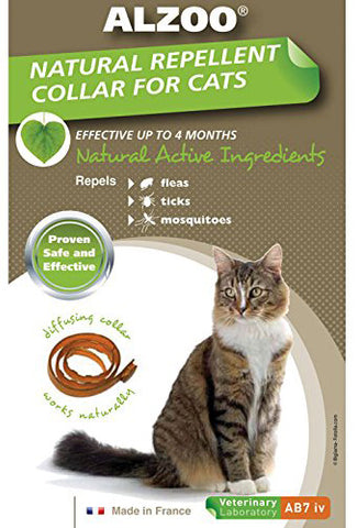 ALZOO - Natural Repellent Flea & Tick Collar for Cats