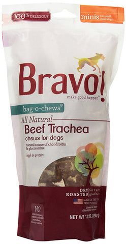 BRAVO - Bag-O-Chews Beef Trachea Pet Treats Mini