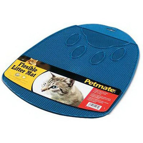 PETMATE -  Flexible Rubberized Litter Mat Blue