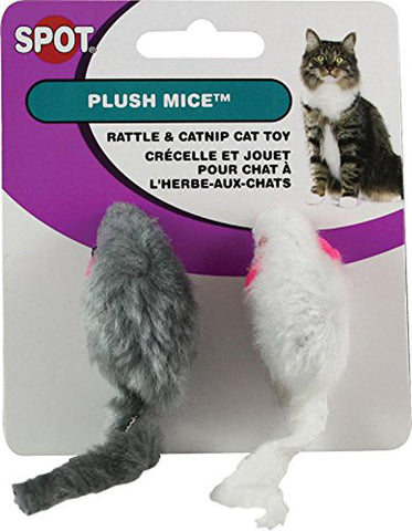 SPOT - Plush Mice with Rattle and Catnip Cat Toy 2""