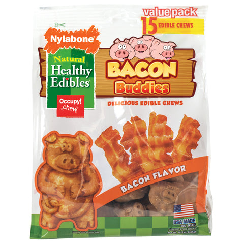 HEALTHY EDIBLES - Bacon Buddies Dog Treat Chews Bacon Flavor
