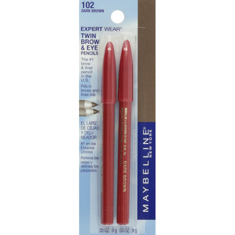 MAYBELLINE - Expert Wear Twin Brow and Eye Pencils 102 Dark Brown