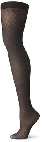 NO NONSENSE - Great Shapes Diamond Control Top Textured Tights Black Small