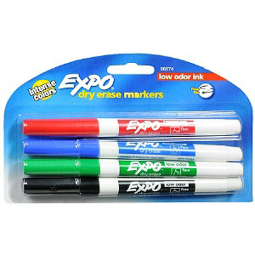 EXPO - Low-Odor Dry-Erase Markers Fine Point Assorted Colors