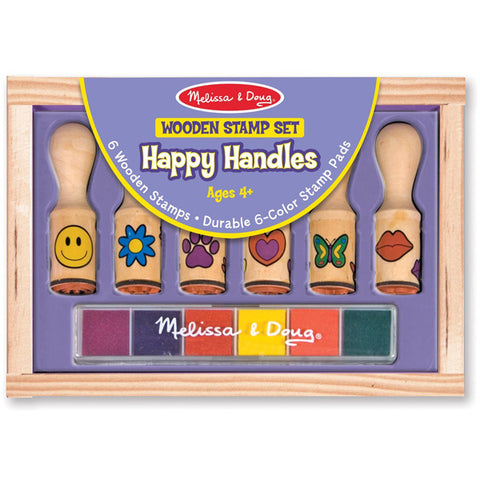 MELISSA & DOUG - Deluxe Wooden Happy Handle Stamp Set