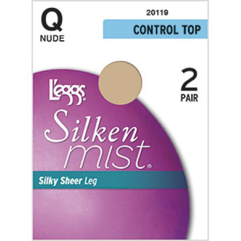 L'EGGS - Silken Mist Control Top Silky Sheer Leg Panty Hose Nude Size Q