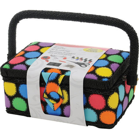 SINGER - Polka Dot Small Sewing Basket with Sewing Kit Accessories