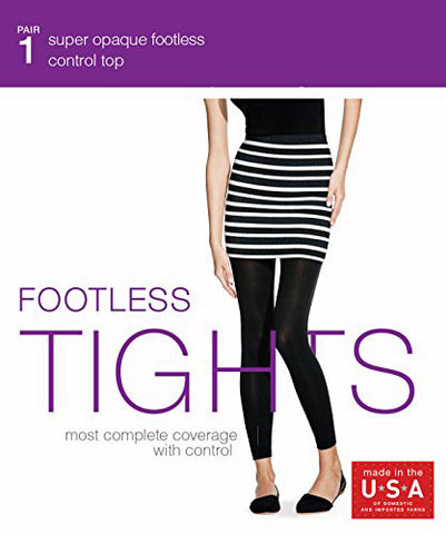 NO NONSENSE - Women's Super Opaque Control Top Footless Tight Black XL