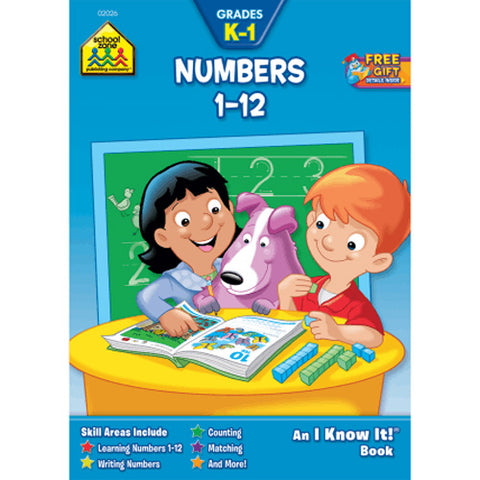 SCHOOL ZONE - Numbers 1-12 K-1 Workbook