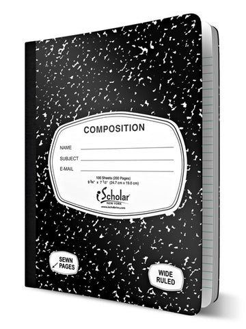iSCHOLAR - Black and White Marble Composition Book