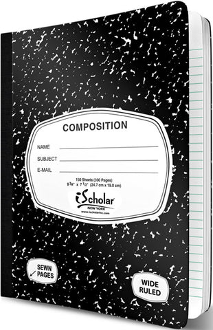 iSCHOLAR - Composition Book Wide Ruled Black Marble Cover
