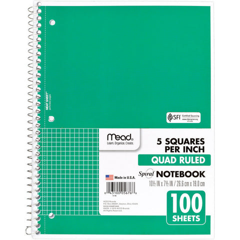 "MEAD - Quad Ruled Spiral Notebook 8"" x 10 1/2"""