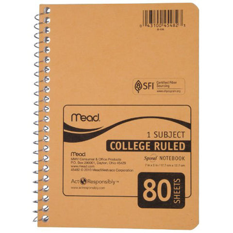 "MEAD - College Ruled Spiral Notebook 5"" x 8"""