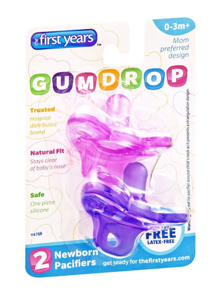 THE FIRST YEARS - Newborn Gumdrop Silicone Pacifier Assorted Colors