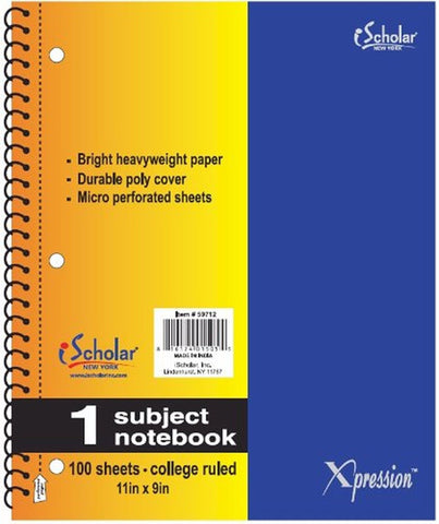 iSCHOLAR - Xpression 1-Subject Poly Cover Wirebound Notebook College Ruled