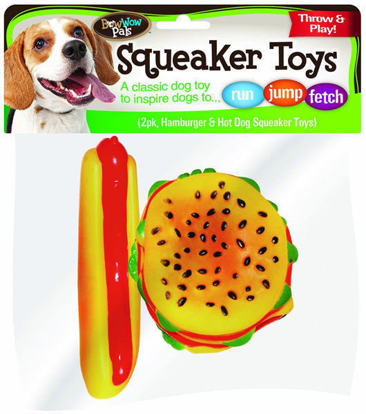 BOW WOW - Hamburger and Hotdog Vinyl Squeaker Toys