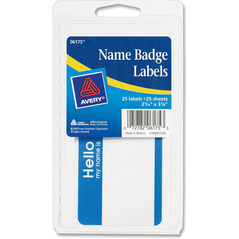 "AVERY - Self-Adhesive Name Badge Labels with Blue Border, 2-3/16"" x 3-3/8"""