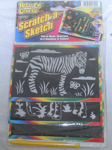 JA-RU - Scratch-a-Sketch 6 Assorted Designs, Black