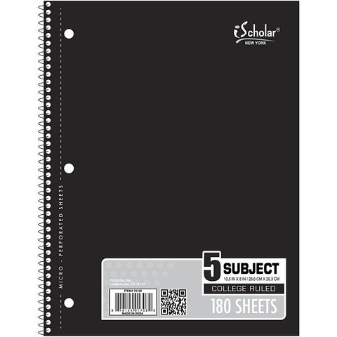 "iSCHOLAR - 5-Subject Wirebound Notebook College Ruled, 10.5"" x 8"""