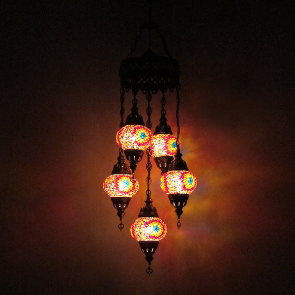 Woodymood Ceiling Mosaic Lamp 5 Ball-Flame