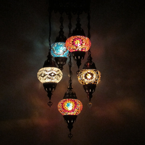 Woodymood Ceiling Mosaic Lamp 5 Ball-Multi Color