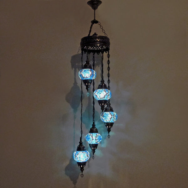 Woodymood Ceiling Spiral Mosaic Lamp 5 Ball-Star Turquoise