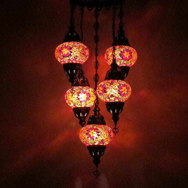 Woodymood Ceiling Mosaic Lamp 5 Ball-Star Red