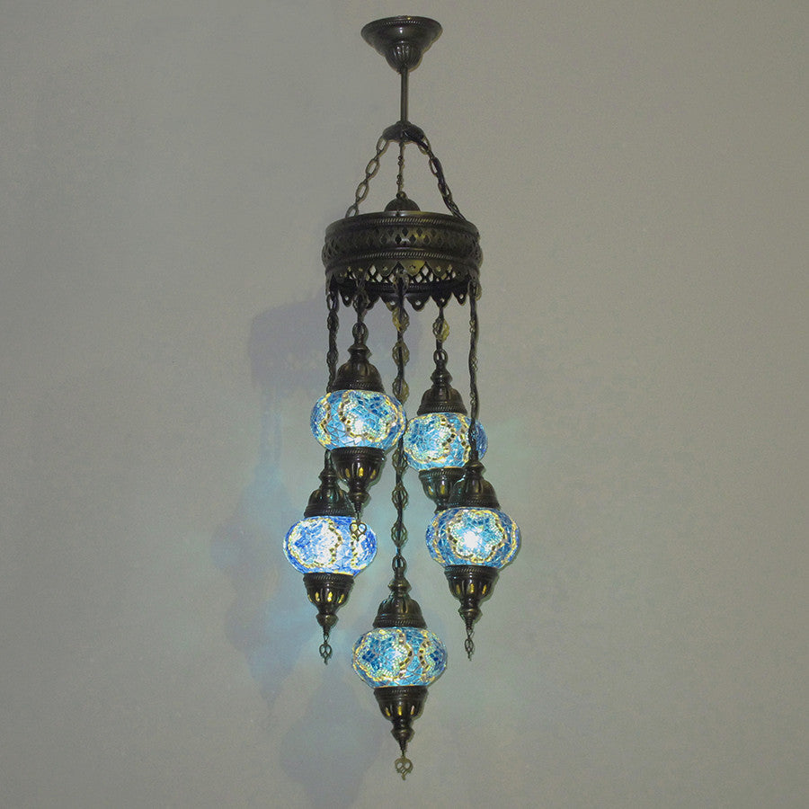 Woodymood Ceiling Mosaic Lamp 5 Ball-Star Turquoise