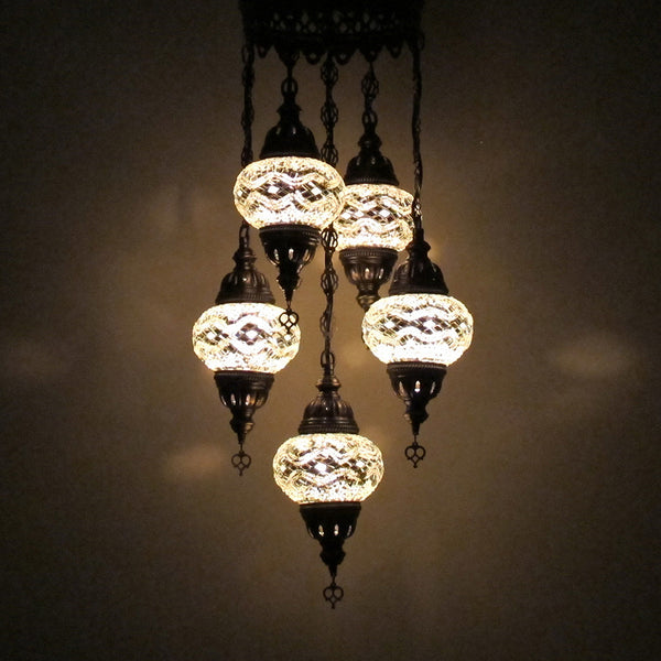 Woodymood Ceiling Mosaic Lamp 5 Ball-White