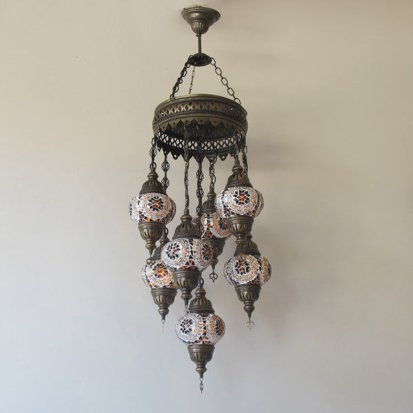 Woodymood Ceiling Mosaic Lamp 7 Ball-Flower Amber