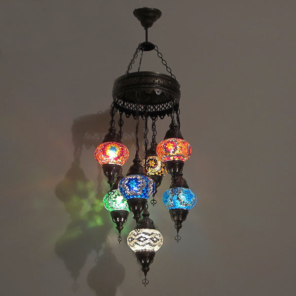 Woodymood Ceiling Mosaic Lamp 7 Ball-Multi Color