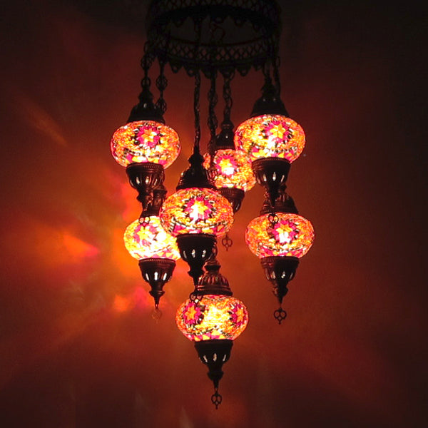 Woodymood Ceiling Mosaic Lamp 7 Ball-Star Red