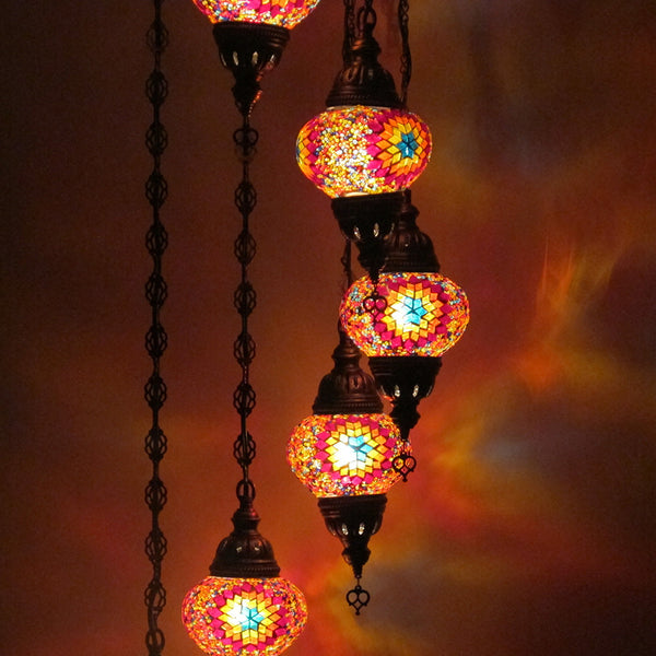 Woodymood Ceiling Spiral Mosaic Lamp 7 Ball-Flame