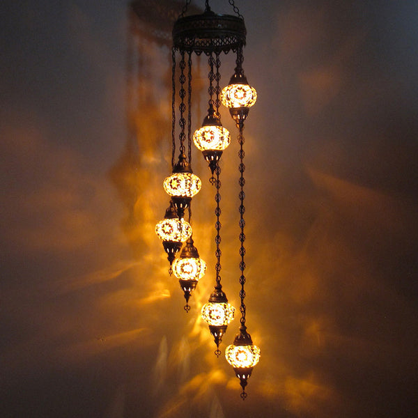 Woodymood Ceiling Spiral Mosaic Lamp 7 Ball-Flower Amber