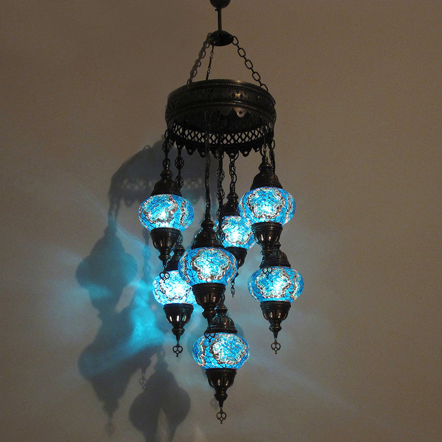 Woodymood Ceiling Mosaic Lamp 7 Ball-Star Turquoise