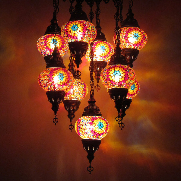 Woodymood Ceiling Mosaic Lamp 9 Ball-Flame