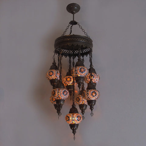 Woodymood Ceiling Mosaic Lamp 9 Ball-Flower Amber