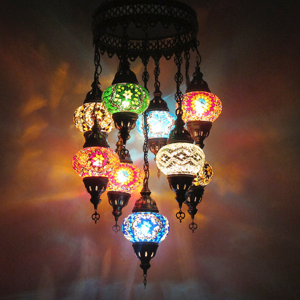 Woodymood Ceiling Mosaic Lamp 9 Ball-Multi Color