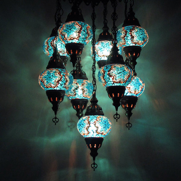 Woodymood Ceiling Mosaic Lamp 9 Ball-Star Turquoise