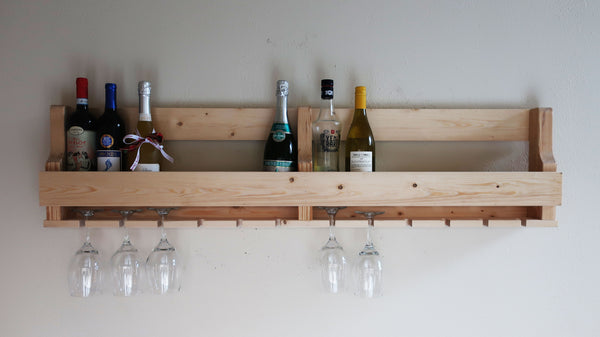 Wine Rack 16 bottle ,12 Glass Holder, Rustic modern wall mounted wine rack, Wall mounted wine glass holder, Handcrafted furniture